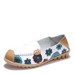 Женщины кожа Плоский каблук На плокой подошве Закрытый мыс обувь (086164451)
