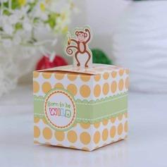 Lycklig Monkey baby Shower med Banan Cubic Favör Boxas (Set om 12) (050024306)