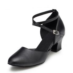 De mujer Piel Tacones Salón Sala de Baile con Tira de tobillo Zapatos de danza (053067437)