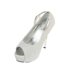 Glittrande Glitter Stilettklack Sandaler Pumps Plattform Peep Toe med Spänne skor (087050171)