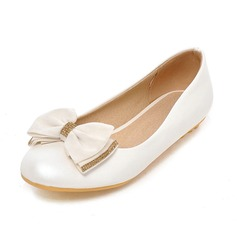 Women's Leatherette Flat Heel Flats Closed Toe With Bowknot shoes (086089838)