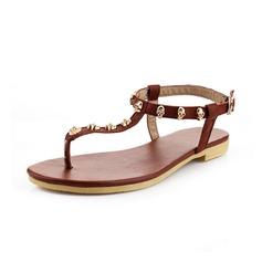 Äkta läder Flat Heel Sandaler Flip Flops med Spänne skor (087049313)
