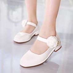 Jentas Lukket Tå Leather lav Heel Pumps Flower Girl Shoes med Imitert Perle Velcro Blomst (207153565)