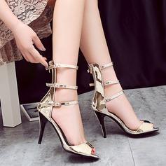 Mulheres Couro Brilhante Salto agulha Bombas Sandálias Beach Wedding Shoes com Fivela (047125427)
