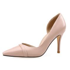 Женщины кожа Высокий тонкий каблук На каблуках Закрытый мыс обувь (085092467)