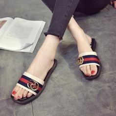 Женщины кожа Плоский каблук Сандалии На плокой подошве Открытый мыс Босоножки Тапочки обувь (087164422)