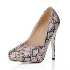 Kunstleer Stiletto Heel Pumps Plateau Closed Toe met Dier Afdrukken schoenen (085017490)