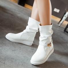 Женщины кожа Плоский каблук На плокой подошве Ботинки с пряжка обувь (088107263)