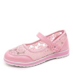 Jentas Round Toe Lukket Tå Blonder flat Heel Flate sko Flower Girl Shoes med Velcro Blomst (207167105)