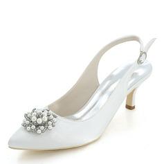 Женщины шелка как атласное Высокий тонкий каблук На каблуках с жемчуг (047146224)