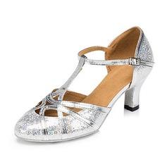 Vrouwen Sprankelende Glitter Sandalen Pumps Ballroom met T-Riempjes Gesp Hol-out Dansschoenen (053109342)