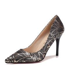 Женщины кожа Высокий тонкий каблук На каблуках Закрытый мыс обувь (085153076)