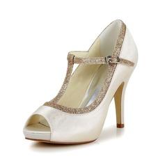 Женщины Атлас Высокий тонкий каблук Открытый мыс На каблуках с пряжка Мерцающая отделка (047048532)