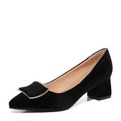 Женщины Замша Устойчивый каблук На каблуках Закрытый мыс с бантом обувь (085150490)