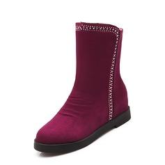Женщины Замша Плоский каблук Полусапоги обувь (088074427)