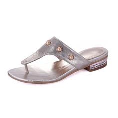 кожа Низкий каблук Сандалии Тапочки с Имитация Перл обувь (087066540)