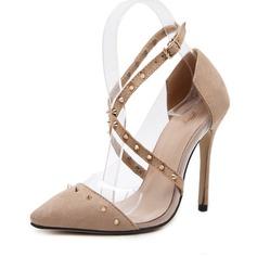 Frauen Veloursleder Stöckel Absatz Absatzschuhe Geschlossene Zehe mit Niete Schuhe (085143614)
