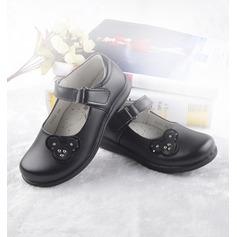 Girl's Closed Toe imitatieleer Flat Heel Flats Bloemenmeisje schoenen met Velcro (207150964)