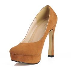 Suede Chunky Heel Pumps Plateau Closed Toe schoenen (085017481)