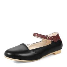 Женщины PVC Плоский каблук На плокой подошве Закрытый мыс с Шнуровка обувь (086153777)