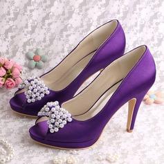 Женщины шелка как атласное Высокий тонкий каблук Платформа На каблуках с хрусталь жемчуг (047118983)