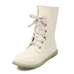 Женщины кожа Плоский каблук На плокой подошве Закрытый мыс Ботинки Сапоги до середины голени с Шнуровка обувь (088176531)