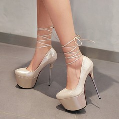 Женщины кожа Высокий тонкий каблук На каблуках Платформа Закрытый мыс с Шнуровка обувь (085126951)