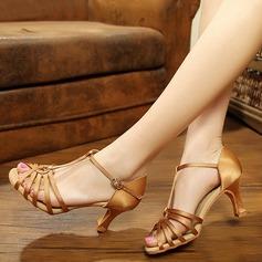 Женщины Шелковые Сандалии Латино с Ремешок на щиколотке Обувь для танцев (053113254)