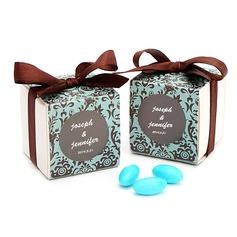Chocolade & Turkoois Damast Cubic Bedank Doosjes met Linten (Set van 12) (050025734)