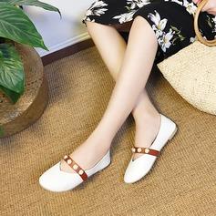 Женщины PU Плоский каблук На плокой подошве Закрытый мыс с Имитация Перл обувь (086137052)