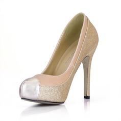 Couro Espumante Glitter Salto agulha Bombas Plataforma Fechados sapatos (085022624)