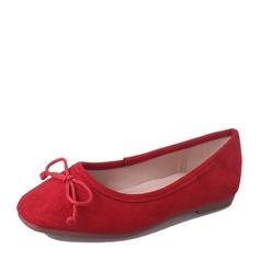 Женщины Замша Плоский каблук На плокой подошве Закрытый мыс с бантом обувь (086152992)
