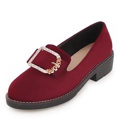 Женщины Замша кожа Плоский каблук На плокой подошве с горный хрусталь пряжка обувь (086191964)