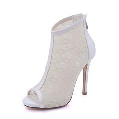 Donna raso di seta come Mesh Tacco a spillo Stivali Piattaforma Stiletto Sandalo con Cerniera (047155129)