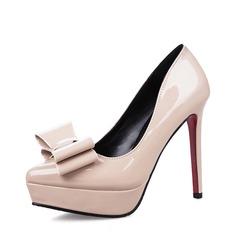 Женщины Лакированная кожа Высокий тонкий каблук Закрытый мыс Платформа На каблуках с бантом (047142887)