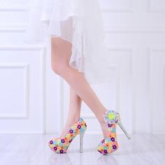 Женщины Натуральня кожа Высокий тонкий каблук На каблуках с Цветок Аппликация (047114321)