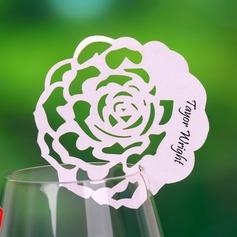 Rosa udformning Perle-papir Bordkort (sæt af 12) (131037406)
