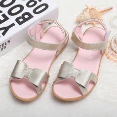 Jentas Titte Tå Ekte lær flat Heel Sandaler Flate sko Flower Girl Shoes med Bowknot (207095564)