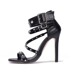 Women's PU Stiletto Heel Sandals Pumps Peep Toe With Rivet Buckle Zipper shoes (087151055)