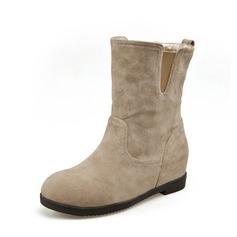 Женщины Замша Вид каблука Полусапоги обувь (088074019)