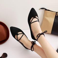 Женщины Замша Плоский каблук На плокой подошве с Шнуровка обувь (086123494)