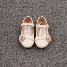 Girl's Closed Toe Microfiber Leather Flat Heel Flats Flower Girl Shoes With Imitation Pearl Satin Flower Velcro (207153556)