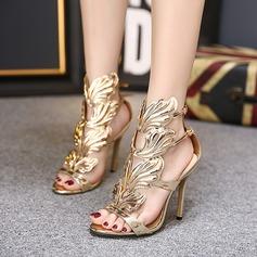 Femmes PU Talon stiletto Sandales Escarpins chaussures (087128092)