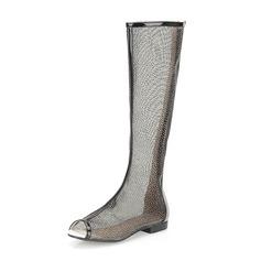 кожа Плоский каблук Открытый мыс Сапоги до колен обувь (088062147)