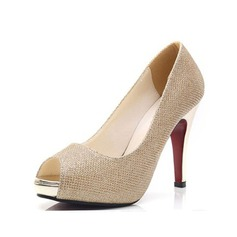 Женщины кожа Высокий тонкий каблук Сандалии Открытый мыс обувь (087085022)