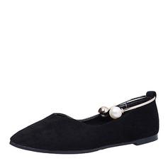 Женщины Замша Плоский каблук На плокой подошве Закрытый мыс с Имитация Перл обувь (086164488)