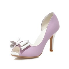 Konstläder Stilettklack Sandaler Pumps Peep Toe med Fören skor (087048923)