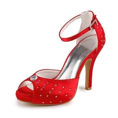 Mulher Cetim Salto cone Peep toe Plataforma Sandálias com Imitação de Diamantes (047020176)