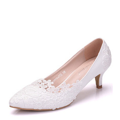 Vrouwen Kunstleer Low Heel Closed Toe Pumps met Stitching Lace (047151542)