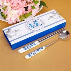 синий-белый Дизайн Керамика Нержавеющая сталь ложка и палочками набор (051026880)